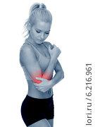Купить «sporty woman with pain in elbow», фото № 6216961, снято 8 мая 2014 г. (c) Syda Productions / Фотобанк Лори