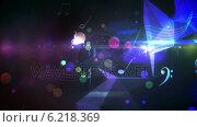 Купить «Colourful abstract music design on black», видеоролик № 6218369, снято 20 июня 2019 г. (c) Wavebreak Media / Фотобанк Лори