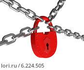 Красный замок на цепях на белом фоне. Стоковая иллюстрация, иллюстратор Иван Гусев / Фотобанк Лори