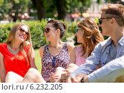 Купить «group of smiling friends outdoors sitting in park», фото № 6232205, снято 20 июля 2014 г. (c) Syda Productions / Фотобанк Лори