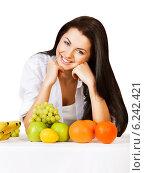 smiling girl with fruits. Стоковое фото, фотограф Александр Буц / Фотобанк Лори