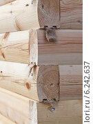 Купить «Угол строения из шпунтованного профилированного соснового бруса», фото № 6242637, снято 3 августа 2014 г. (c) Родион Власов / Фотобанк Лори