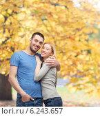 Купить «smiling couple hugging», фото № 6243657, снято 9 февраля 2014 г. (c) Syda Productions / Фотобанк Лори