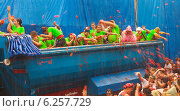 Купить «La Tomatina festival - during rain», фото № 6257729, снято 28 августа 2013 г. (c) Яков Филимонов / Фотобанк Лори