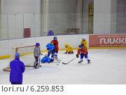 Юные хоккеисты на льду (2013 год). Редакционное фото, фотограф Анастасия Улитко / Фотобанк Лори
