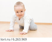 Маленький мальчик ползает на четвереньках. Стоковое фото, фотограф Nikolay Kostochka / Фотобанк Лори