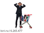 Купить «Man with business folders isolated on white», фото № 6265477, снято 6 июня 2014 г. (c) Elnur / Фотобанк Лори