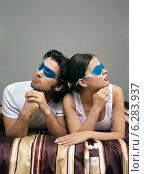 Купить «Woman and man lying on bed with eye compresses.», фото № 6283937, снято 19 марта 2019 г. (c) BE&W Photo / Фотобанк Лори