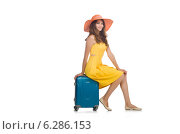 Купить «Travel vacation concept with luggage on white», фото № 6286153, снято 27 июня 2014 г. (c) Elnur / Фотобанк Лори