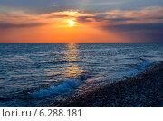 Красочный закат над морем. Абхазия. Стоковое фото, фотограф Анна Кудрявцева / Фотобанк Лори