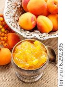 Купить «Bowl of apricot jam and ripe apricots in the background. Healthy food», фото № 6292305, снято 20 марта 2019 г. (c) BE&W Photo / Фотобанк Лори