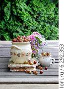 Купить «Jug of gooseberry on wooden table. Summer fruits», фото № 6292353, снято 17 января 2019 г. (c) BE&W Photo / Фотобанк Лори