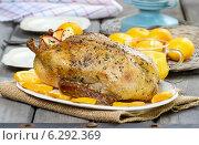 Купить «Roasted duck with oranges on wooden table. Festive dish», фото № 6292369, снято 23 апреля 2019 г. (c) BE&W Photo / Фотобанк Лори