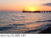 Купить «Пирс в Лазаревском на закате», фото № 6300141, снято 30 июня 2014 г. (c) Николай Мухорин / Фотобанк Лори