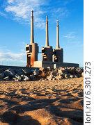 Купить «chimneys of neglected power station», фото № 6301273, снято 3 марта 2014 г. (c) Яков Филимонов / Фотобанк Лори
