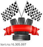 Купить «Гоночный фон, колеса и финишные флаги», иллюстрация № 6305097 (c) Алексей Тельнов / Фотобанк Лори