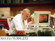 Купить «Floor trading on the Frankfurt Stock Exchange», фото № 6306233, снято 7 мая 2002 г. (c) Caro Photoagency / Фотобанк Лори