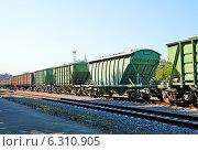 Купить «Грузовые железнодорожные вагоны», фото № 6310905, снято 16 июля 2014 г. (c) Александр Замараев / Фотобанк Лори