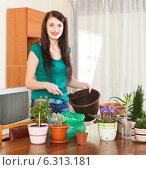 Happy woman transplanting flowers. Стоковое фото, фотограф Яков Филимонов / Фотобанк Лори