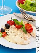 Купить «Куриное филе, обжаренное с моцареллой», фото № 6314233, снято 28 июня 2014 г. (c) Елена Веселова / Фотобанк Лори