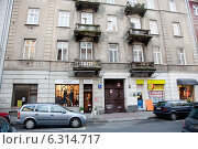 Building where from 1950 to 1984 lived Jerzy Wasowski - composer, actor, director and co-founder of the legendary Elderly Gentlemen's Cabaret, Wilcza 11 Warsaw. Редакционное фото, агентство BE&W Photo / Фотобанк Лори