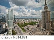 Купить «Panoramic view of Warsaw city center», фото № 6314881, снято 15 июля 2020 г. (c) BE&W Photo / Фотобанк Лори