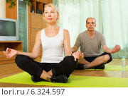 Elderly couple having yoga at home. Стоковое фото, фотограф Яков Филимонов / Фотобанк Лори