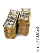 Купить «American dollar stack isolated on the white», фото № 6338265, снято 13 января 2014 г. (c) Elnur / Фотобанк Лори
