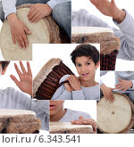 Montage of little boy with African drum. Стоковое фото, фотограф Phovoir Images / Фотобанк Лори