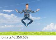 Купить «smiling young man jumping in air», фото № 6350669, снято 20 января 2019 г. (c) Syda Productions / Фотобанк Лори