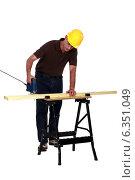 Купить «Carpenter sawing a plank», фото № 6351049, снято 25 мая 2011 г. (c) Phovoir Images / Фотобанк Лори