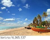 Купить «Рыбацкие лодки на песчаном пляже, Индия», фото № 6365137, снято 3 декабря 2012 г. (c) Михаил Коханчиков / Фотобанк Лори