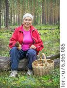 Купить «Женщина отдыхает во время сбора грибов», фото № 6366085, снято 5 сентября 2014 г. (c) Александр Романов / Фотобанк Лори