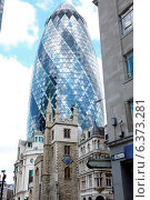 Купить «London financial district circa 2009.The Gherkin building towering above an old church», фото № 6373281, снято 19 ноября 2019 г. (c) Ingram Publishing / Фотобанк Лори