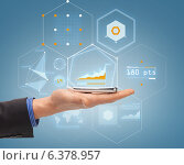 close up of male hand with smartphone and hologram. Стоковое фото, фотограф Syda Productions / Фотобанк Лори