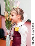 Купить «Первоклассница с букетом у доски», эксклюзивное фото № 6379861, снято 1 сентября 2014 г. (c) Куликова Вероника / Фотобанк Лори