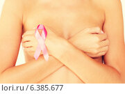 Купить «naked woman with breast cancer awareness ribbon», фото № 6385677, снято 25 июля 2013 г. (c) Syda Productions / Фотобанк Лори