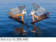 Бирманские рыбаки на озере Инле, Мьянма. Стоковое фото, фотограф Дмитрий Рухленко / Фотобанк Лори