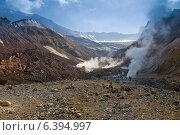 Купить «Ущелье с активными фумаролами вулкана Мутновский на Камчатке», фото № 6394997, снято 30 августа 2014 г. (c) Александр Лицис / Фотобанк Лори