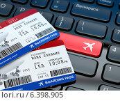 Купить «Online ticket booking. Boarding pass on laptop keyboard.», фото № 6398905, снято 9 июля 2020 г. (c) Maksym Yemelyanov / Фотобанк Лори