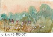 Купить «Летний пейзаж солнечным утром. Акварель», иллюстрация № 6403001 (c) Julia Shepeleva / Фотобанк Лори