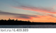 Купить «Silhouette of trees at the lakeside, Kenora, Lake of The Woods, Ontario, Canada», фото № 6409889, снято 6 августа 2012 г. (c) Ingram Publishing / Фотобанк Лори
