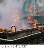 Купить «Incense sticks burning at a temple, Lama Temple, Dongcheng, Beijing, China», фото № 6412437, снято 27 августа 2012 г. (c) Ingram Publishing / Фотобанк Лори