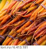 Купить «Stack of carrots for sale at a market stall, Pike Place Market, Seattle, Washington State, USA», фото № 6413181, снято 3 апреля 2013 г. (c) Ingram Publishing / Фотобанк Лори