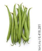 Купить «Green beans handful isolated on white background cutout», фото № 6418281, снято 10 апреля 2014 г. (c) Natalja Stotika / Фотобанк Лори