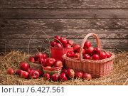 Купить «red apples on wooden background», фото № 6427561, снято 20 сентября 2014 г. (c) Майя Крученкова / Фотобанк Лори