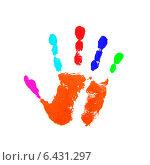 Купить «Красочный отпечаток ладони», фото № 6431297, снято 31 марта 2020 г. (c) Константин Орлов / Фотобанк Лори