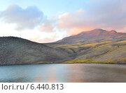 Купить «Армения, озеро Кари (Каменное озеро) у подножия горы Арагац на закате», фото № 6440813, снято 13 сентября 2014 г. (c) Овчинникова Ирина / Фотобанк Лори