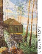 Купить «Рисунок. Палатка на берегу озера», иллюстрация № 6441517 (c) Олег Хархан / Фотобанк Лори
