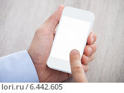 Купить «Businessman's Hand Holding Cellphone With Blank Screen», фото № 6442605, снято 25 марта 2014 г. (c) Андрей Попов / Фотобанк Лори